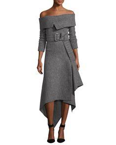 B3YUM Monse Off-Shoulder Herringbone Midi Dress