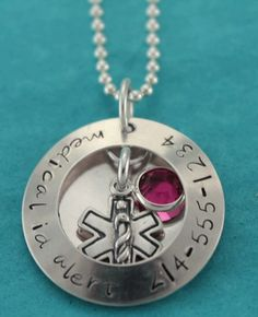 Medical ID Alert Hand Stamped Locket with Swarovski Crystal Drop Necklace by JetSilverBeads Etsy