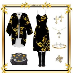 """Over-The-Knee-Boots & My ""Golden Leaves"" Dress & Kimono"" by artist4god-rose-santuci-sofranko on Polyvore"
