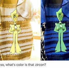 The dress is white and gold but that Zircon is green