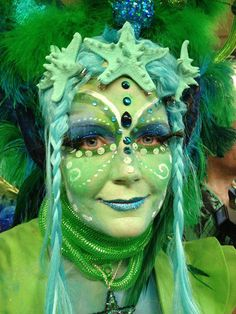 Mermaid inspired fantasy make-up with jewels accents for the Coney Island Mermaid Parade - Kat from Katwise/Photo by Elaine Eversley.