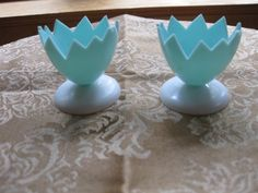 Pair Vintage Plastic Egg Cups- Mom had these