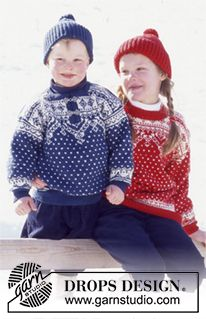 DROPS 52-28 - DROPS Sweater and hat in Karisma Superwash with snow crystals and dots. - Free pattern by DROPS Design