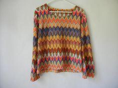 Vintage 90's Shirt Chevron Print Fall by littleraisinvintage