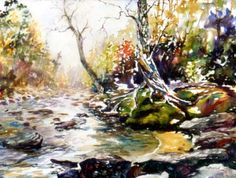 Watercolor painting tutorial: colorful river and forest
