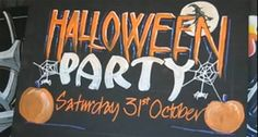 """Halloween Party Chalkboard Art Sign with Zig Posterman Markers    Halloween is coming up and John Neal has created a few chalk art blackboards for the holiday. Join John in his studio where he creates this spooky spectacular with Zig Posterman Waterproof Markers.    Using a 15mm Orange the letters are made with """"dripping"""" bottoms by lifting the marker at the end of the stroke."""