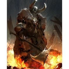 #viking #fire #speedpainting  #photoshop #painting #digital #art #sketch #axe #armour #fantasy #drawing #medieval #daily #fur #sketchbook #sketch_dailies #instaart #instagood #likes #picoftheday #speed #magic #igart #igers #darksouls #smoke #flame#devilzsmile, by devilzsmile.com