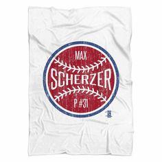 Max Scherzer Ball R Washington Fleece Blanket MLBPA Officially Licensed