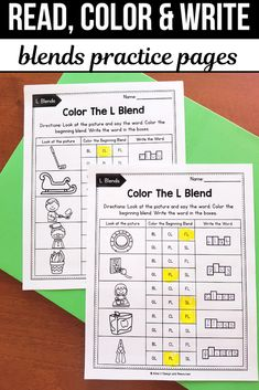 R Blends Worksheets, L Blends Activities - Read, Color and Write 1st Grade Activities, Phonics Activities, Classroom Activities, Teacher Tools, Teacher Hacks, Teacher Resources, Learning Resources, Blends Worksheets, Phonics Worksheets