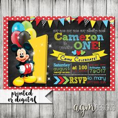 Mickey Mouse Invitation Mickey Mouse 1st by AGMPrintableDesigns