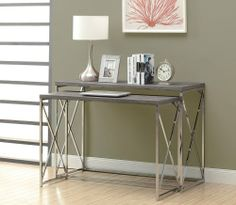 Monarch Reclaimed-Look/Chrome 2-Piece Console Tables, Dark Taupe Monarch,http://www.amazon.com/dp/B00FHXHG3O/ref=cm_sw_r_pi_dp_gZRQsb0BMTTQ4WQ9