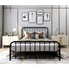 Black Metal Bed Frame, Black Bed Frames, Metal Bed Frames, Ikea Metal Bed, Metal Beds, Black Iron Beds, Steel Bed, Boston Apartment, Apartment Goals