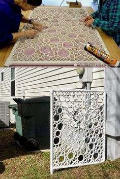 Is your garbage screaming to have a new screen. DIY a new and beautiful privacy screen with some pvc. Inspiration is everywhere! - How to Make a DIY PVC Pipe Privacy Screen Pvc Pipe Crafts, Pvc Pipe Projects, Outdoor Projects, Diy Pipe, Recycled Art Projects, Recycling Projects, Lathe Projects, Diy Crafts, Wood Projects