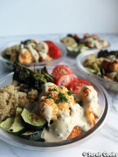 Sarah Cooks: Meal Prep Monday: Buffalo Cauliflower Quinoa Bowls with Tahini Ranch Dressing