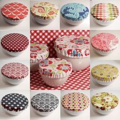 Bargain basement grab bag save laminated cotton oilcloth reusable bowl covers two sets of 3 grea Laminated Cotton Fabric, Partys, Love Sewing, Sewing Projects For Beginners, Sewing Patterns Free, Fabric Scraps, Hemp Fabric, Diy Crafts To Sell, Sewing Crafts