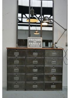 Love the Roneo Filling Cabinet Clapet, the industrial mirror and the Jielde lamp 2 arms. Check our stock right now: www.laboutiquevintage.co.uk #LaBoutiqueVintage