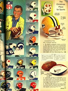 Boys' NFL uniforms from the 1972 J.C. Penney Christmas catalog