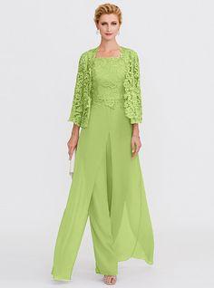 0112d58d8631 Pantsuit / Jumpsuit Straps Floor Length Chiffon / Corded Lace Mother of the Bride  Dress with Appliques / Lace / Split Front by LAN TING BRIDE®