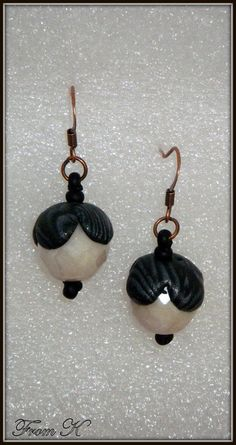 Items similar to Elegant Dangle Earrings, Beaded Earrings, Black and White Polymer Clay Earrings, Drop Earrings on Etsy Beaded Earrings, Drop Earrings, Polymer Clay Earrings, Jewlery, Dangles, Christmas Ornaments, Crystals, Elegant, Trending Outfits