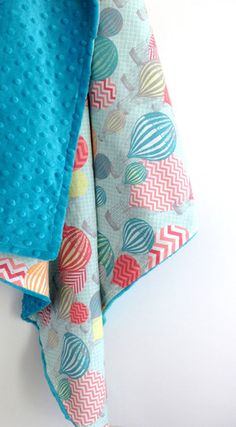 hot air balloon minky stroller blanket – madly wish
