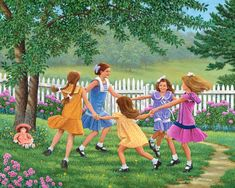 Ring Around the Rosie © John Sloane Childhood Games, Childhood Memories, Childhood Quotes, Remember Day, Art Village, Sunset Colors, Country Art, The Good Old Days, Naive