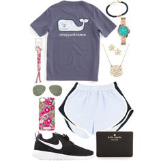 Stress Less OOTD by sun-prep on Polyvore featuring NIKE, Kate Spade, FOSSIL, Moon and Lola, Marc by Marc Jacobs, Lilly Pulitzer, Ray-Ban and Vineyard Vines