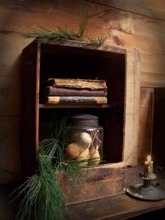 Storage box, found one like this weekend and have it in my kitchen now with cook books and spices in it, great idea Primitive Living Room, Primitive Bathrooms, Primitive Homes, Primitive Furniture, Primitive Antiques, Country Primitive, Primitive Decor, Farmhouse Furniture, Vintage Furniture