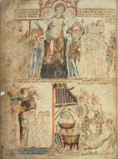 Страшный Суд Господень; Англия; XIV в.; памятник: Библия (Bible ('Holkham Bible Picture Book'). 1327-1335гг.