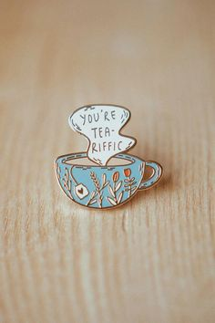 just a little reminder! This teariffic enamel pin is the perfect gift for a tea lover or for when you. Tea Riffic, Glassine Envelopes, Bag Pins, Jacket Pins, Tea Gifts, Cool Pins, Pin And Patches, Pin Badges, Cool Stuff