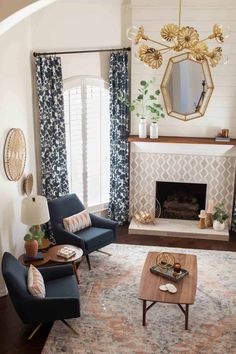 photo of the geometric mirror to turn a living room modern by top Houston lifestyle blogger Ashley Rose of Sugar & Cloth Transitional Living Rooms, Transitional Decor, New Living Room, Living Room Modern, Tan Leather Sofas, Living Room Inspiration, Room Colors, New Furniture, Home Interior Design