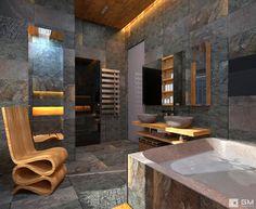 Ванная камень дерево / Wood stone bathroom
