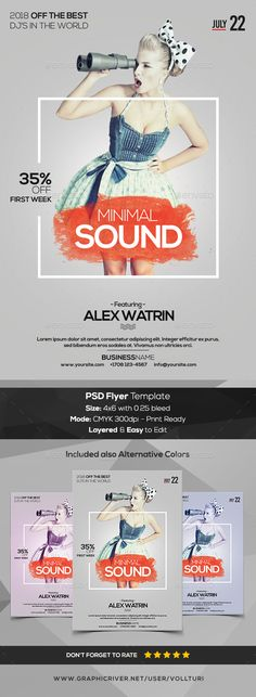 Minimal Sound - PSD Flyer Template  Minimal Sound is a PSD Flyer Template to use for your next event, party or to promote your product business/shop. This PSD Flyer Template is fully editable and easy to edit & customize.