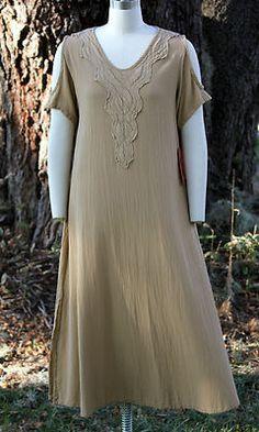 Oh My Gauze Cotton Henna Cold Shoulder Dress 1 s M 2 M L 3 L XL Tan Khaki   eBay