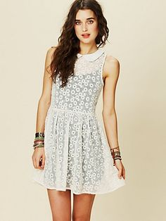Floral Embroidered Mesh Mini Dress