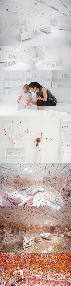 "Yayoi Kusama gives thousands of stickers to hundreds of kids to place wherever they want in a pure white room. This is from her ""Look Now See Forever"" series. Just amazing."