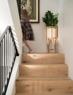 These stairs feature a flush stair nose, which means there is no overhang for a modern, clean look. This floor is named Shell, from Stuga, THE source for Scandinavian hardwood floors. Hardwood Stairs, Hardwood Floors, Stair Decor, Stair Landing Decor, Staircase Makeover, Stair Nosing, Staircase Design, Modern Stairs Design, Staircase Diy