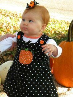 Pumpkin Appliqued Jumper. $30.00, via Etsy.