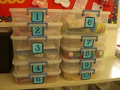 First Grade Garden's blog with math centers (with labels)