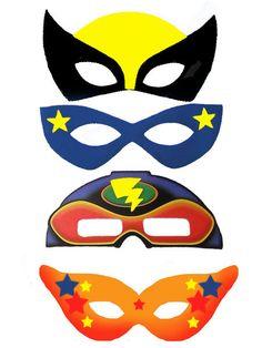Masques de super héros (Pour décorer les ballons volants de son SUPER anniversaire.)