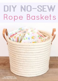 DIY No-Sew Rope Baskets with Rose Gold Leather Handles - make custom sized storage and organization for your home! [ad] Happiness is Homemade