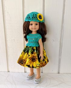 """Clothes for dolls Paola Reina doll 12""""/32 cm crochet dress hat for doll clothing for doll Barbie Clothes, Barbie Dolls, Crochet Cardigan, Crochet Hats, Doll Shop, Dress With Cardigan, Dress Hats, Handmade Dresses, Green Cotton"""