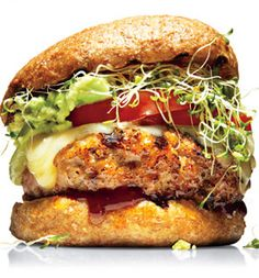 Richard Blais's Avocado-Alfalfa Turkey Burger - (I have neither pomegranate molasses nor a Whole Foods where I live, so I am going to try substituting Kecap Manis, an Indonesian sort of sweet 'molasses', which can be found in many grocery stores and Asian stores.) (Oh... and the 'c' in  kecap is pronounced 'ch', in  case you ask for it in a store.)