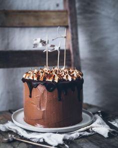 Still my favorite chocolate cake ever - Triple chocolate cake with torched meringue You can find the recipe in my book #MySweetKitchen