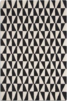 Black and white geometric wool rug