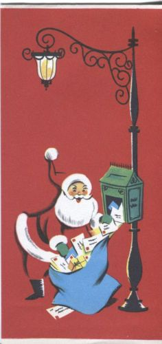 vintage christmas card santa claus at the mailbox christmas mail vintage christmas cards