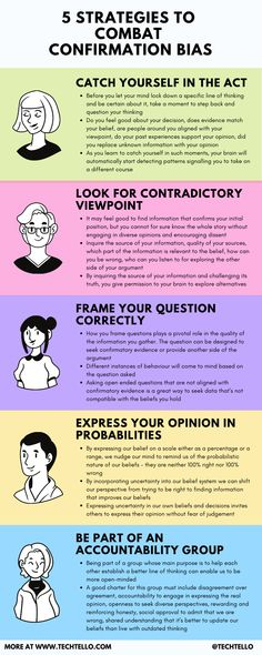 This infographic explains the 5 effective strategies to combat confirmation bias during decision making. It's important to learn limitations of our brain to devise strategies to combat confirmation bias #confirmationbias #psychology #cognitivebias #mindset #inspiration #growthmindset #motivation #change #life #lifelessons #mindfulness #danielkahneman #probability #gooddecisions #confirmation #success #growth #startup #entrepreneur #business #leadership Daniel Kahneman, Confirmation Bias, Cognitive Bias, Startup Entrepreneur, Personal Narratives, Decision Making, Growth Mindset, Cool Things To Make, Life Lessons