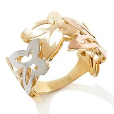 Michael Anthony Jewelry® Tricolor 10K Butterfly Ring at HSN.com. Butterfly Gifts, Butterfly Ring, Cute Jewelry, Jewelry Design, My Style, Bling Bling, Bracelets, Rings, Butterflies