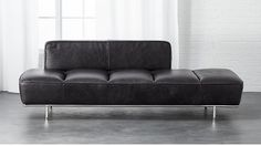 lawndale black leather daybed with chrome base   CB2