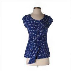 Edme & Estylle blue silk top SZ 10 Blue silk draped top Anthropologie Tops Blouses