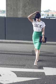 Graphic tee and pencil skirt